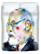 Sigmund Freud - Watercolor Portrait.3 Duvet Cover