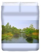 Signed Fluss By Samuel Matheis Acrylic River Holzminde, Holzminden, Germany. Duvet Cover