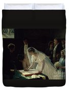 Signing The Register Duvet Cover by Edmund Blair Leighton