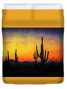 Sihouette Sunrise In The Sonoran Duvet Cover