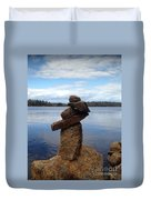 Silent Watch - Inukshuk On Boulder At Long Lake Hiking Trail Duvet Cover