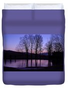 Silhouette At The Pond Duvet Cover