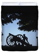 Silhouette Of A Boy And His Father Duvet Cover