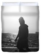 Silhouette Of A Couple  Duvet Cover
