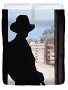 Silhouette Of A Cowboy In A Doorway Duvet Cover