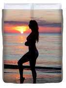Silhouette Of A Fit Woman  Duvet Cover