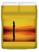 Silhouette Of A Girl Practicing Yoga Reflected On The Surface Of Water During Beautiful Sunset Duvet Cover
