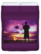 Silhouette Of A Local Man Standing By The Bonfire On The Beach In Maldives During Dramatic Sunset Duvet Cover