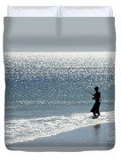 Silhouette Of A Man Fishing Duvet Cover