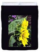 Silhouette Of A Sunflower Duvet Cover