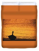 Silhouette Of A Thai Wooden Boat  On The Beach Against Golden Sunset Koh Lanta, Thailand Duvet Cover