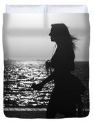 Silhouette Of A Woman Duvet Cover