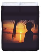 Silhouette Of A Young Boy Watching Beautiful Caribbean Sunset Duvet Cover
