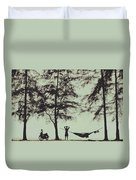 Silhouette Of A Young Men With Crossed Hands Above His Head Camping Hammocking In The Nature Duvet Cover