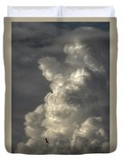 Silhouette Of An Eagle Flying Among Stormy Clouds  Duvet Cover