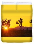 Silhouette Of Joshua Trees Yucca Duvet Cover