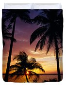 Silhouette Of Palm Tree On The Coast Duvet Cover