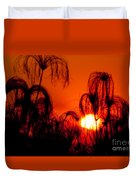 Silhouette Of Papyrus At Sunset Duvet Cover