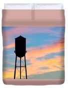 Silhouette Of Small Town Water Tower Duvet Cover