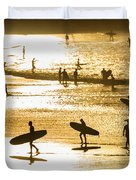 Silhouette Of Surfers At Sunset Duvet Cover
