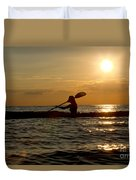 Silhouette Of Woman Kayaking In The Ocean. Duvet Cover
