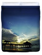 Silhouette Pier 60 Sunset Duvet Cover