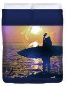 Silhouette Woman On Coast Holding Surfboard At Sunset Duvet Cover