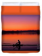 Silhouetted Man Rowing Duvet Cover