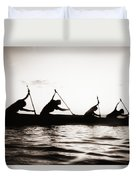 Silhouetted Paddlers Duvet Cover