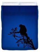 Silhouetted Proboscis Monkey Nasalis Duvet Cover