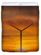 Silhouettes Of Wind Turbines With A Beautiful Sunset Duvet Cover