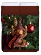 Silly Old Monkey Toy In A Child Hands Under The Christmas Tree Duvet Cover