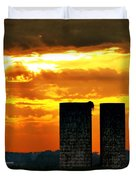 Silos At Sunset Duvet Cover