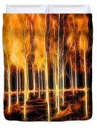 Silver Birches Flaming Abstract  Duvet Cover