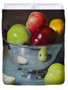 Silver Bowl Of Fruit Duvet Cover