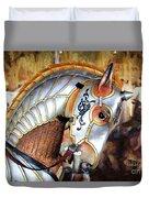 Silver Carousel Horse II Duvet Cover