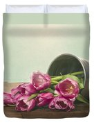 Silver Container With Fresh Tulips Duvet Cover