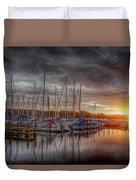 Silver Harbor Skies Duvet Cover