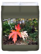 Silver Maple In Red Duvet Cover