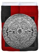 Silver Mayan-aztec Calendar On Black And Red Leather Duvet Cover