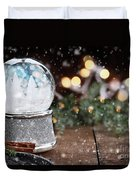 Silver Snow Globe With White Christmas Trees Duvet Cover