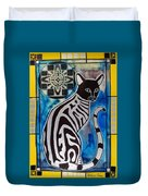 Silver Tabby With Mandala - Cat Art By Dora Hathazi Mendes Duvet Cover