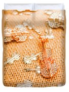 Silver Violin Pendant With Diamonds Duvet Cover