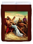 Simon Helping Jesus Duvet Cover