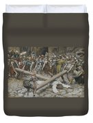 Simon The Cyrenian Compelled To Carry The Cross With Jesus Duvet Cover