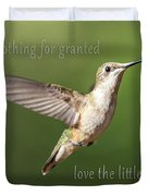 Simple Country Truths Hummingbird Duvet Cover
