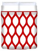 Simplified Latticework With Border In Red Duvet Cover
