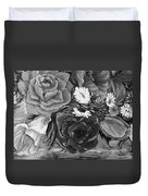 Simply Flowers 1 Black And White Duvet Cover