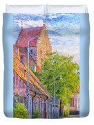 Simrishamn Street Scene Digital Painting Duvet Cover