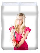 Sincere Woman Saying Thank You With Flower Duvet Cover